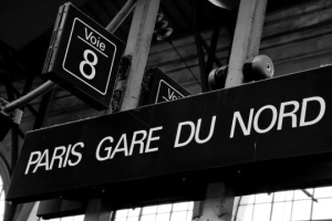 Gare-du-Nord-train-station-sign-in-Paris-France